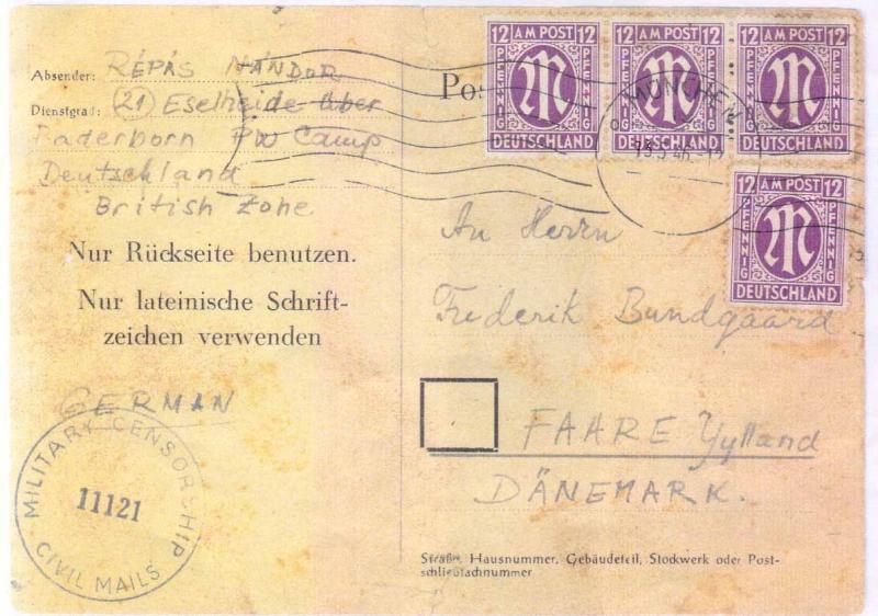 Brev april 1946 fra krigsfangen Nandor Répás i Tyskland, til den danske kvartervært Frederik Bundgaard, Faare